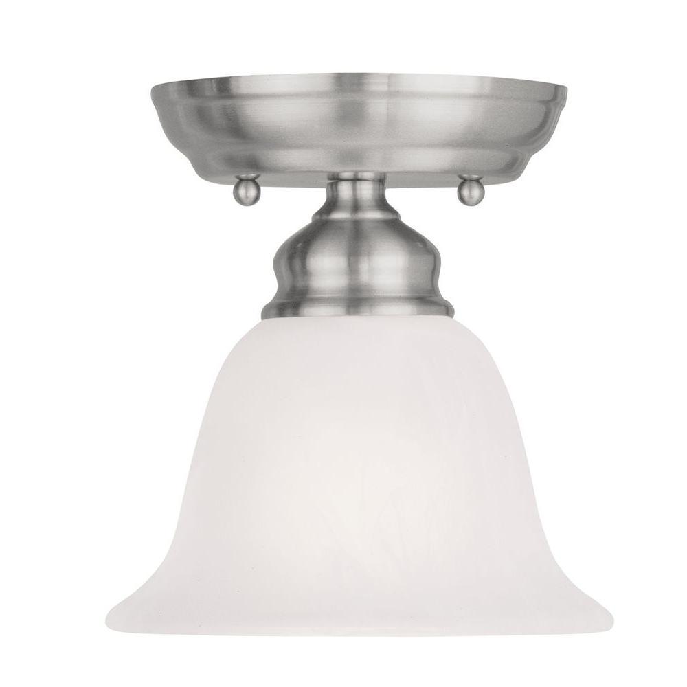 Tashia 1-Light Brushed Nickel Ceiling Semi-Flush Mount Light