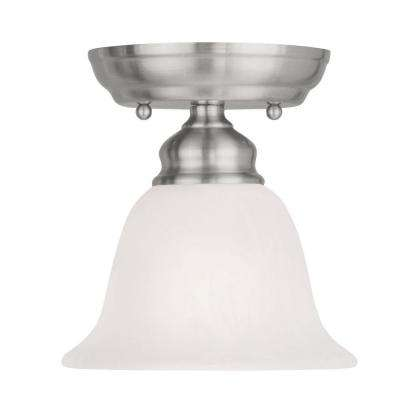 Tashia 1-Light Brushed Nickel Ceiling Semi-Flush Mount Light