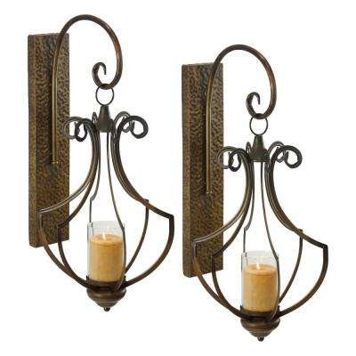 Ribley Brown Metal Candle Wall Sconce (Set of 2)