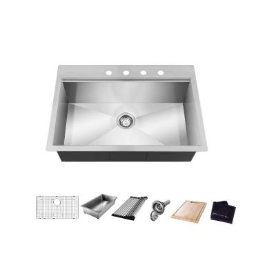All-in-One Drop-In Stainless Steel 30 in. 4-Hole Single Bowl Kitchen Workstation Sink with Accessories Kit