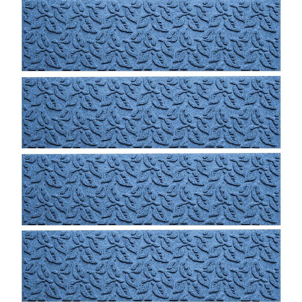 Medium Blue 8.5 in. x 30 in. Dogwood Leaf Stair Tread Cover (Set of 4)