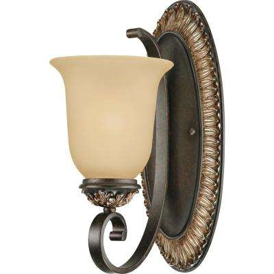 Bristol 1-Light Indoor Vintage Bronze with Antique Gold Bath or Vanity Wall Mount Sconce with Sepia Glass Bell Shade