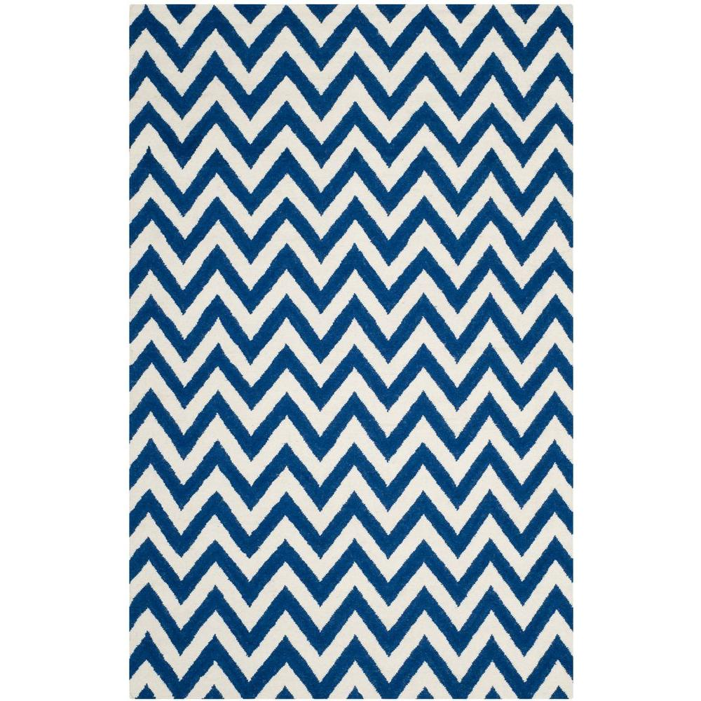 Dhurries Dark Blue/Ivory 4 ft. x 6 ft. Area Rug