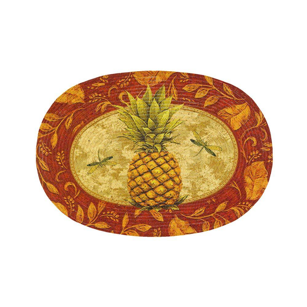 null Golden Pineapple 20 in. x 30 in. Braided Rug
