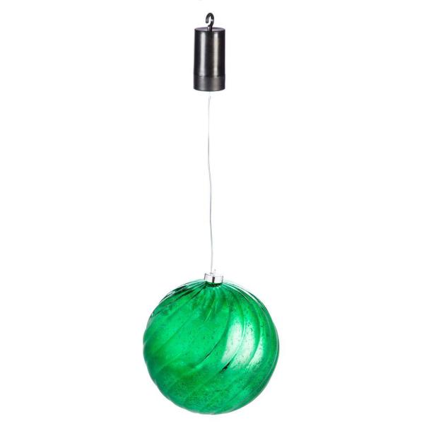 8 in. Green Shatterproof LED Ball Outdoor Safe Battery Operated Christmas Ornament