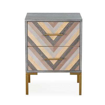 Quinn Grey/Gold Side Table
