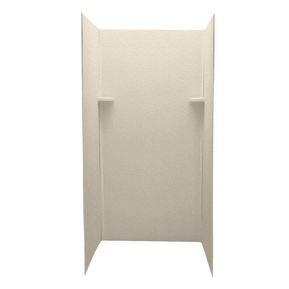 Swan Pebble 36 in. x 36 in. x 72 in. Three Piece Easy Up Adhesive Shower Wall Kit in Almond Galaxy-DISCONTINUED