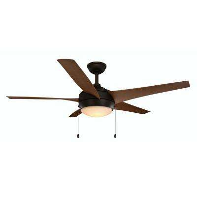 Windward IV 52 in. Integrated LED Indoor/Outdoor Oil-Rubbed Bronze Ceiling Fan with Light Kit