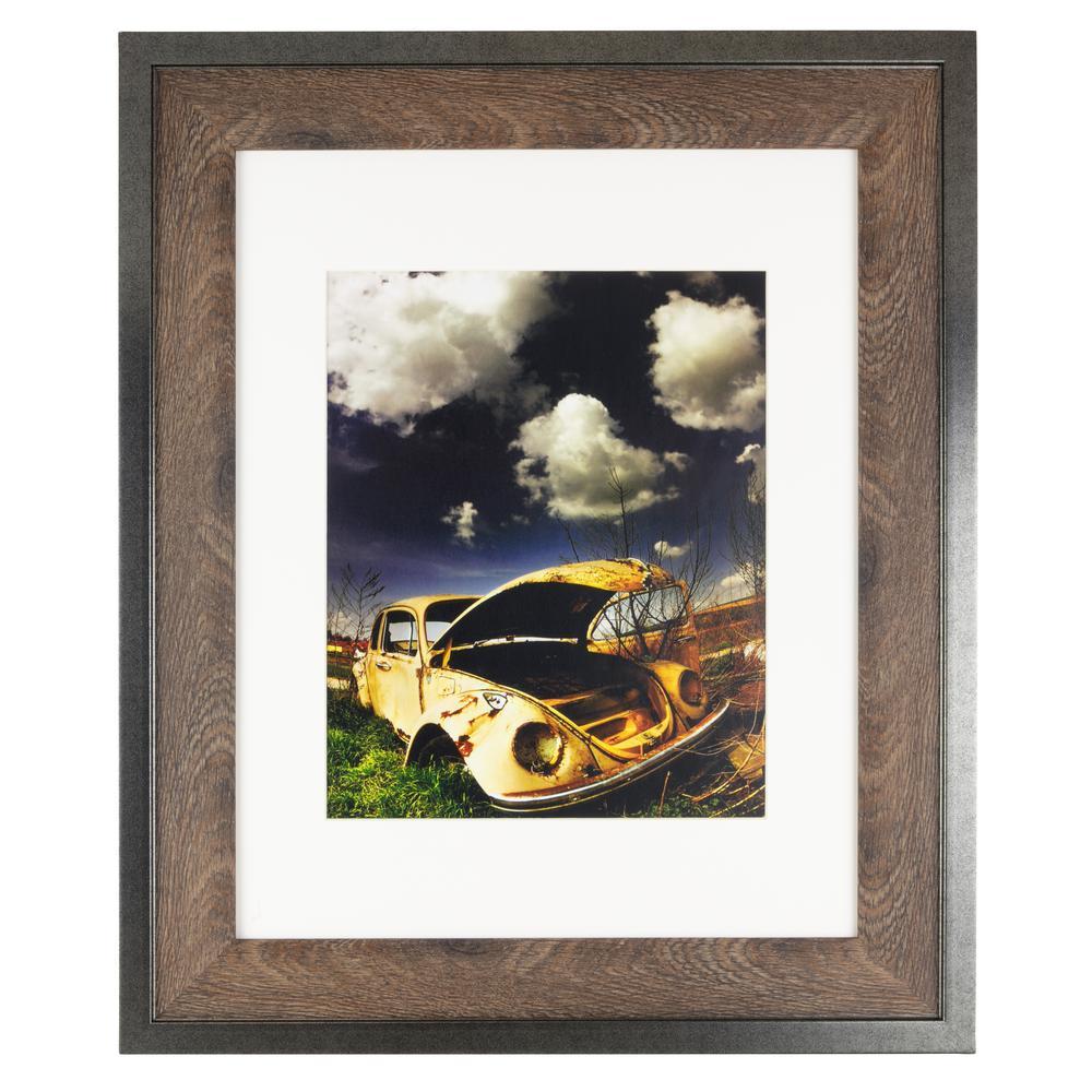 """kieragrace Railtown Benton Frame – Iron Grey, Walnut Wood, 11"""" x 14"""", Matted for 8"""" x 10"""""""
