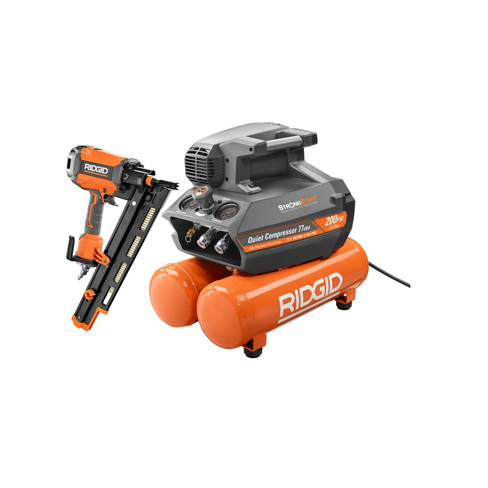 RIDGID 4.5 Gal. Portable Electric Strong Start Air Compressor with 21° 3-1/2 in. Round-Head Framing Nailer