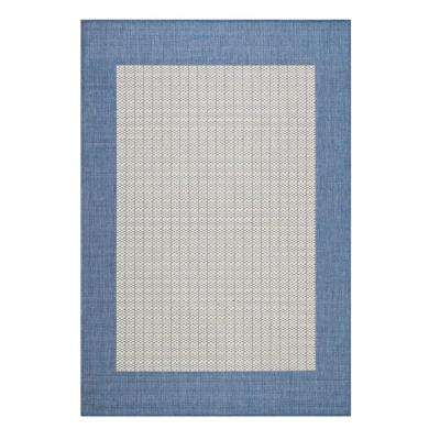 Checkered Blue/Champagne 2 ft. x 4 ft. Area Rug