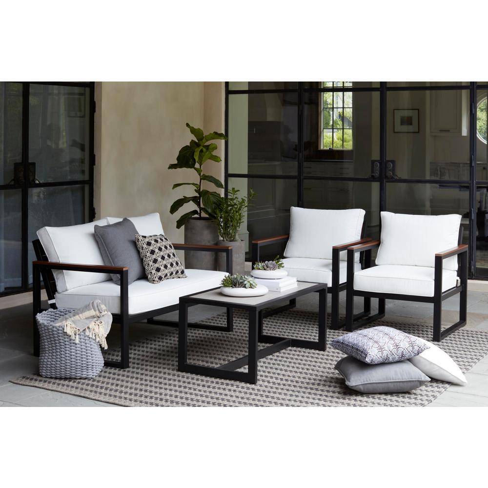 West Park 4-Piece Aluminum Patio Conversation Set with CushionGuard White Cushions