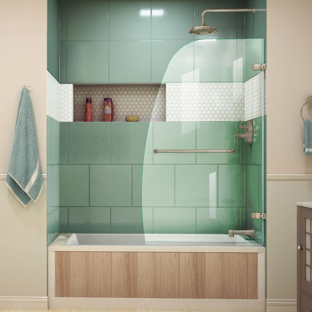 DreamLine Aqua Uno 34 5/16 in. x 58 in. Frameless Hinged Tub Door in Brushed Nickel
