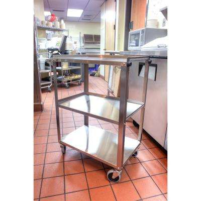 '28 in. x 16 in. 3-Shelf Stainless Steel Cart in Silver' from the web at 'https://images.homedepot-static.com/productImages/670fd117-d665-451c-a7be-b770c8ef1b2b/svn/silver-luxor-utility-carts-ssc-3-64_400_compressed.jpg'
