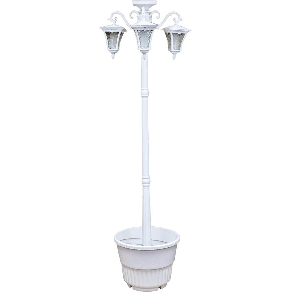Sunray Vittoria 3 Lamp Integrated Led White Solar Lamp Post And