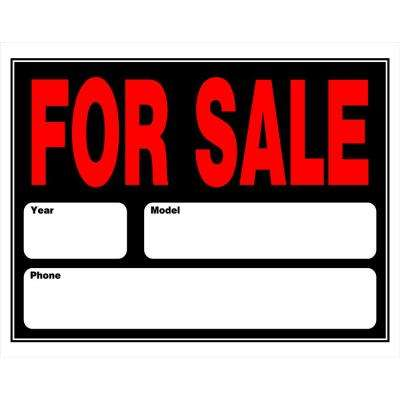 15 in. x 19 in. Plastic Auto for Sale Sign