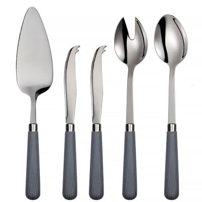 Corsica 5-Piece Grey 18/0 Stainless Steel Cheese Knife, Salad and Cake Server Set