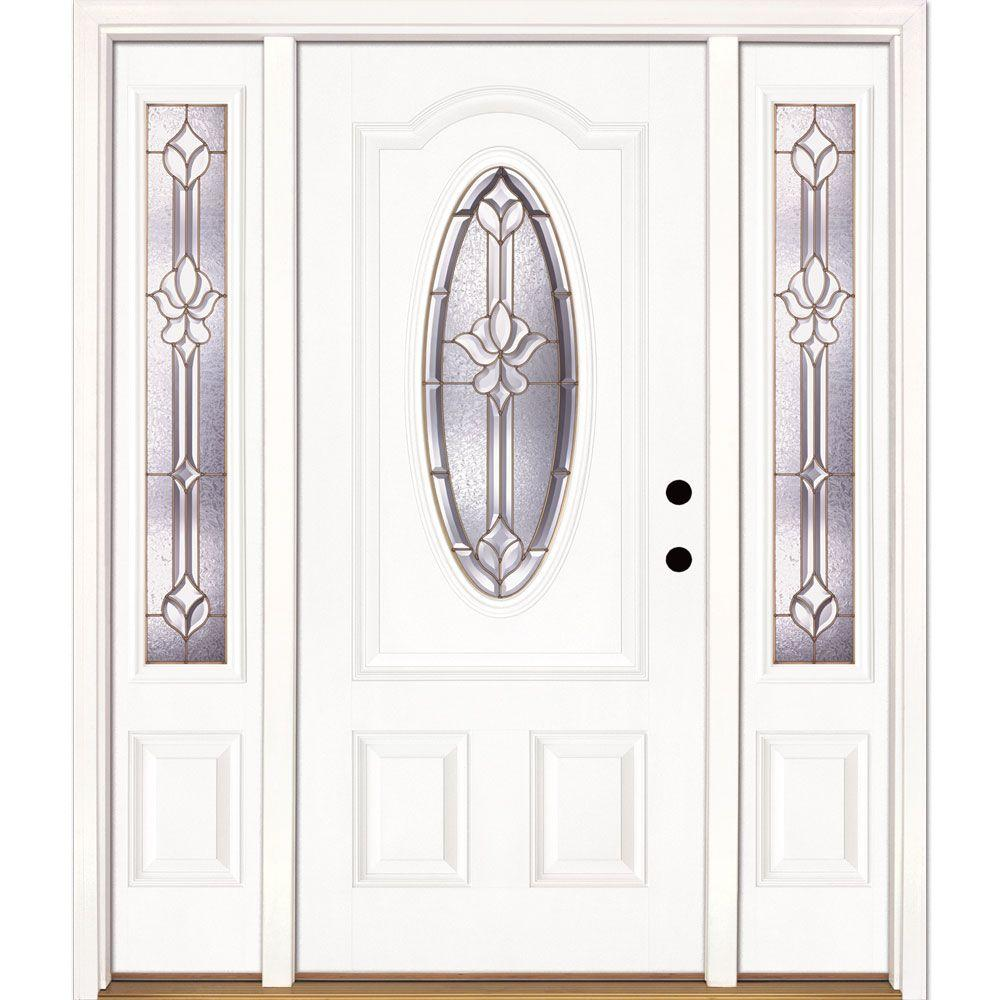 Feather River Doors 63.5 in. x 81.625 in. Medina Brass 3/4 Oval Lite Unfinished Smooth Left-Hand Fiberglass Prehung Front Door w/ Sidelites