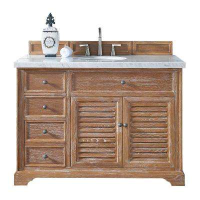 Savannah 48 in. W Single Vanity in Driftwood with Marble Vanity Top in Carrara White with White Basin