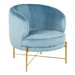 Excellent Lumisource Chloe Powder Blue Velvet And Gold Accent Chair Onthecornerstone Fun Painted Chair Ideas Images Onthecornerstoneorg