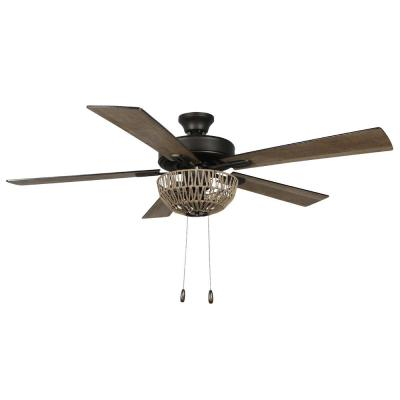 Zarah 52 in. LED Indoor Brown Rope Ceiling Fan with Light