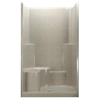 48 in. x 37 in. x 80 in. 1-Piece Low Threshold Shower Stall in Beach with Left Hand Side Molded Seat and Center Drain