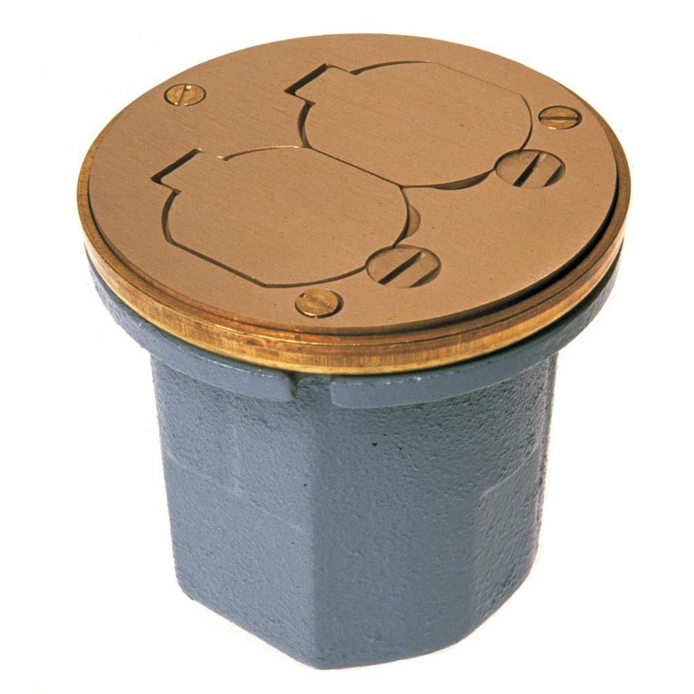 Round Cast Iron Floor Box For Concrete Tile Or Wood Floors