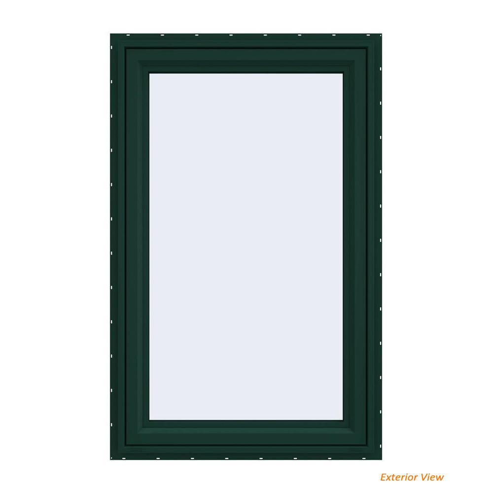 JELD-WEN 29.5 in. x 47.5 in. V-4500 Series Green Painted Vinyl Left-Handed Casement Window with Fiberglass Mesh Screen