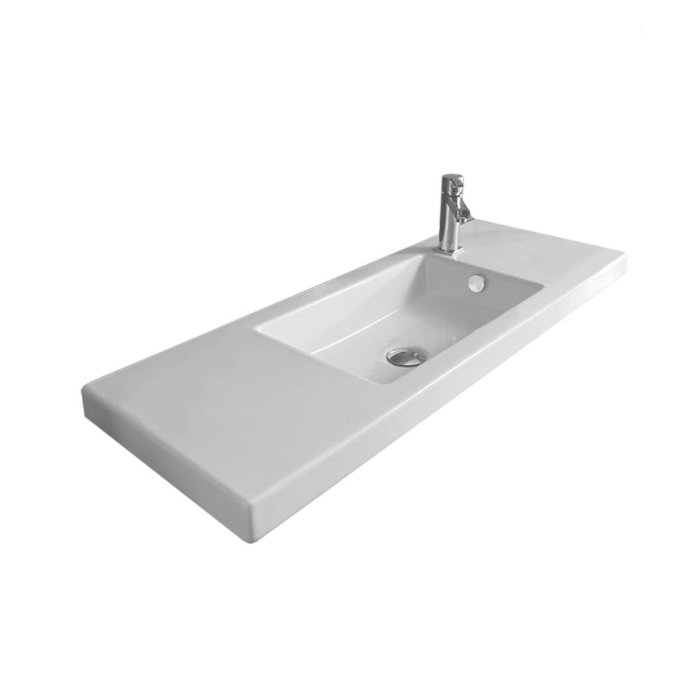 White Tecla 3503011-No Hole Series 35 Rectangular Ceramic Wall Mounted//Built In Sink