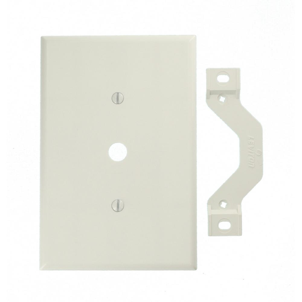 Commercial Electric Ethernet Wall Plate White 216 8c The Home Depot Wiring Diagram For Clock 1 Gang Jumbo Size One 0406 In Dia Phone Cable Opening Plastic Strap