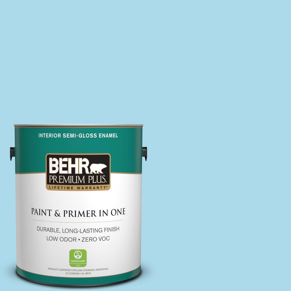 BEHR Premium Plus 1-gal. #530A-3 Frosty Glade Zero VOC Semi-Gloss Enamel Interior Paint