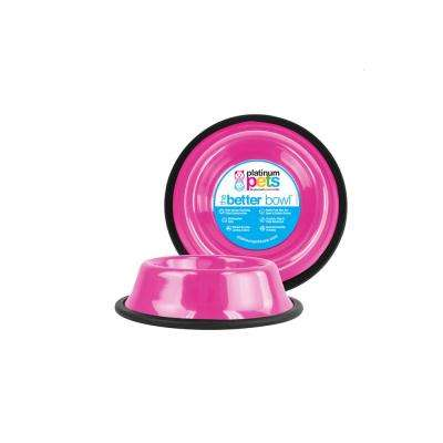 Platinum Pets Non-Embossed Non-Tip Stainless Steel Cat/Dog Bowl, Bubble Gum Pink