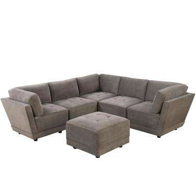 6-Piece Charcoal Waffle Suede Modular Sectional Set with Ottoman