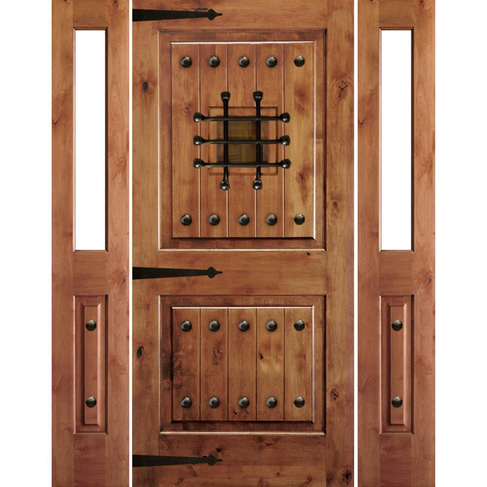 Krosswood Doors 64 in. x 80 in. Mediterranean Alder Square Top Clear Low-E Unfinished Wood Left-Hand Prehung Front Door/Half Sidelites