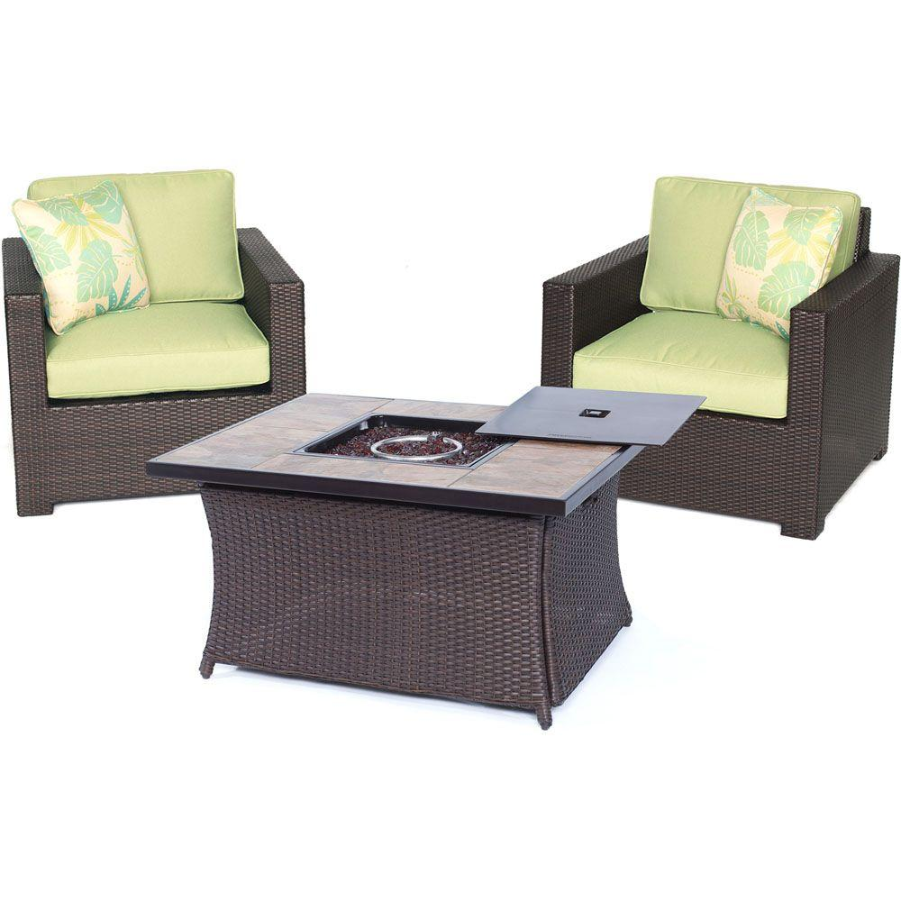 Metropolitan 3-Piece All-Weather Wicker Patio LP Gas Fire Pit Chat Set