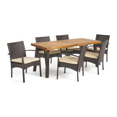 Jovanni Multibrown 7-Piece Wicker Outdoor Dining Set with Creme Cushion