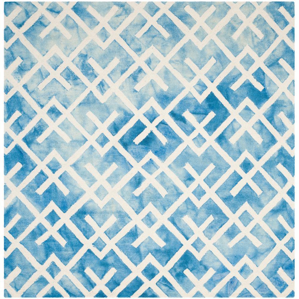 Dip Dye Blue/Ivory 7 ft. x 7 ft. Square Area Rug
