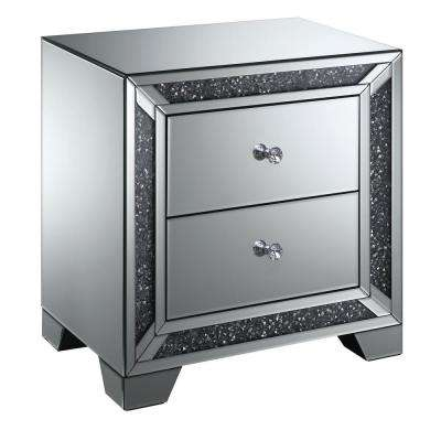 Palmer Silver Mirrored Chrome 2-Drawer Side Table