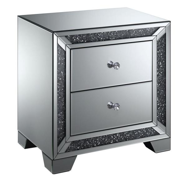 Furniture Of America Palmer Silver Mirrored Chrome 2 Drawer Side Table