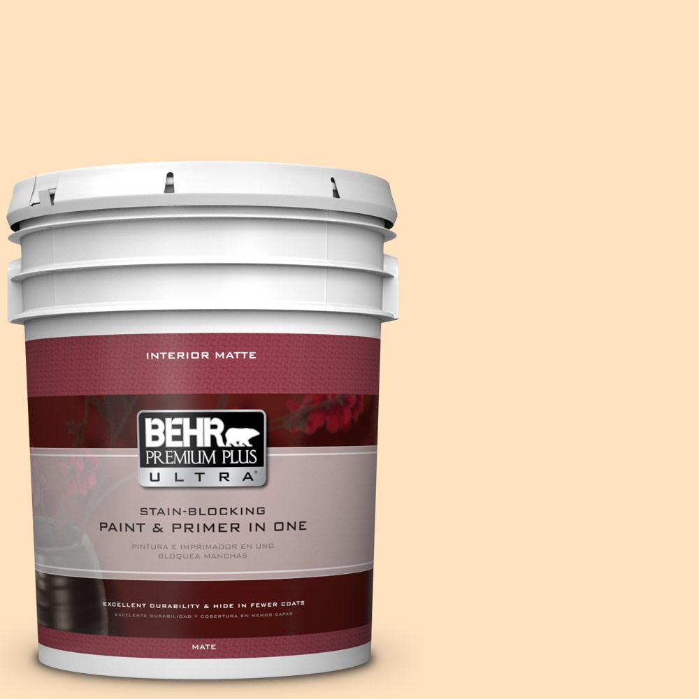 BEHR Premium Plus Ultra 5 gal. #320C-2 Cream Yellow Flat/Matte Interior Paint
