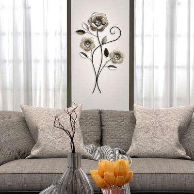 Triple headed metal simple flower wall decor
