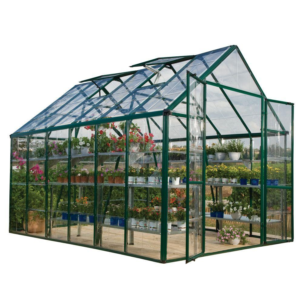 Palram Snap and Grow 8 ft. x 12 ft. Green Polycarbonate Greenhouse