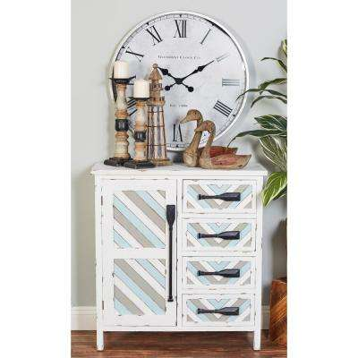 4-Drawer White Wooden Chest with Cabinet and Multi-Colored Slat Design