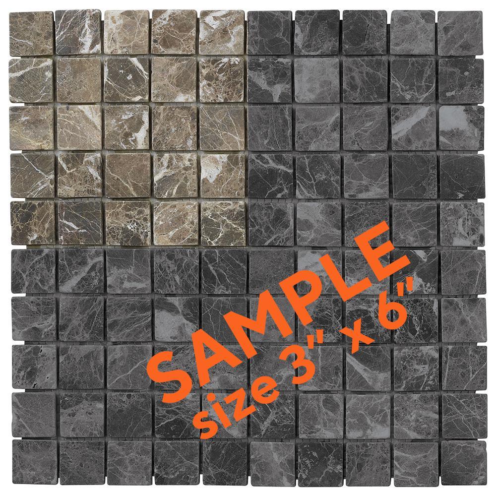 Emperador 3 in. x 6 in. x 8 mm Marble Mosaic Floor/Wall Tile Sample