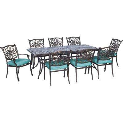 Traditions Bronze Aluminum 9-Piece Outdoor Patio Dining Set with Protective Cover and Blue Cushions