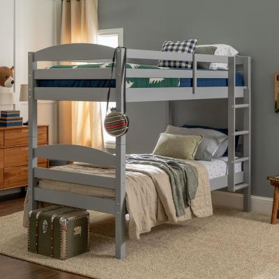 Solid Wood Twin over Twin Bunk Bed - Grey