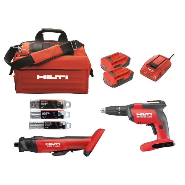 Hilti 22 Volt Lithium Ion Cordless Cut Out Tool Drywall Screw Gun Compact Combo Kit 2 Tool 3551246 The Home Depot