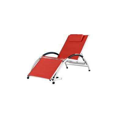 Dockside White Frame Reclining Aluminum Outdoor Lounge Chair in Cherry Red