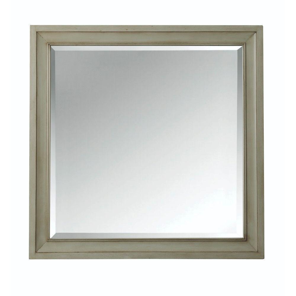 Hazelton 30 in. W x 30 in. H Single Square Wall Mirror in Antique Grey