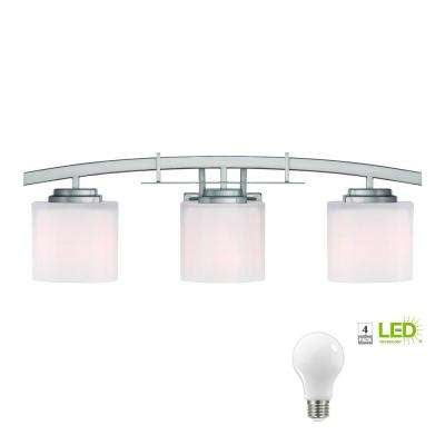 Architecture 3-Light Brushed Nickel Vanity Light with Etched White Glass Shades, Dimmable LED Soft White Bulbs Included